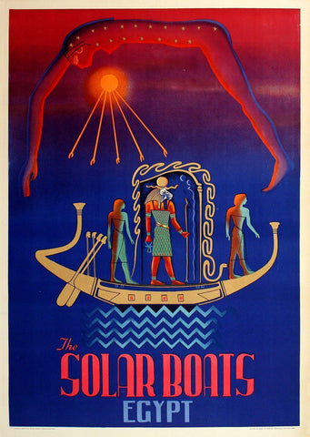 Egypt Solar Boats Travel Poster