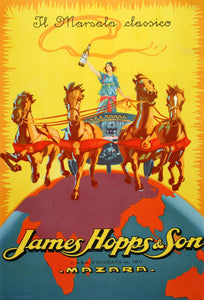 James Hopps and Sons Original c1925 Poster for Marsala Wine