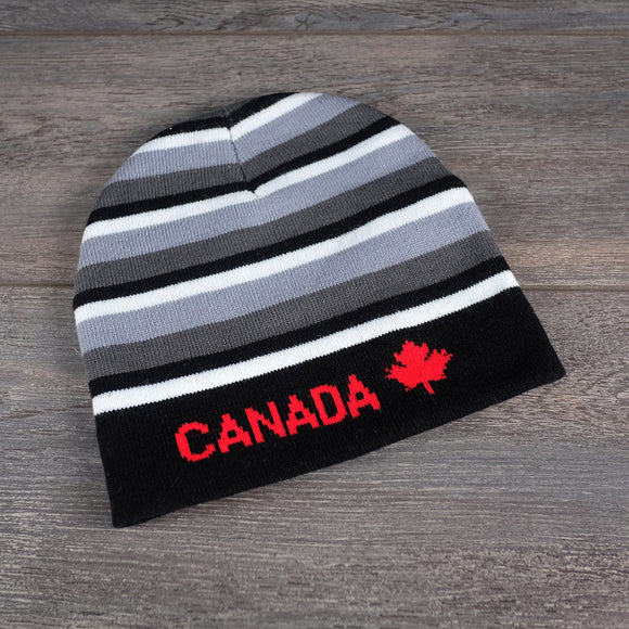 Gret Stripe Toque with Canada Leaf