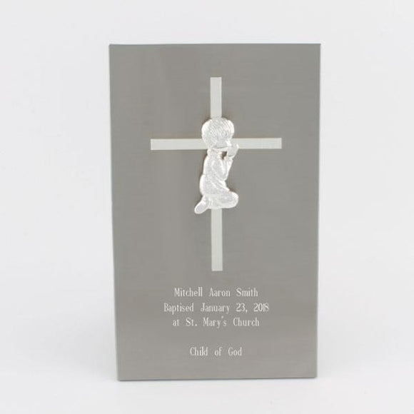 Stainless Steel Cross Plaque - Boy
