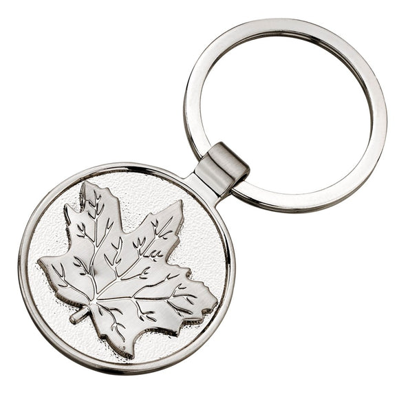 Silver Maple Keychain Ring