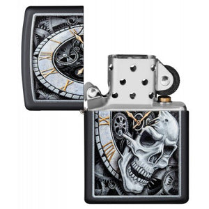 Skull Clock Design - Zippo Lighter