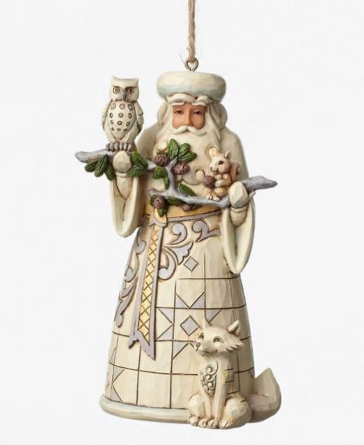 Jim Shore White Woodland Santa Hanging Ornament