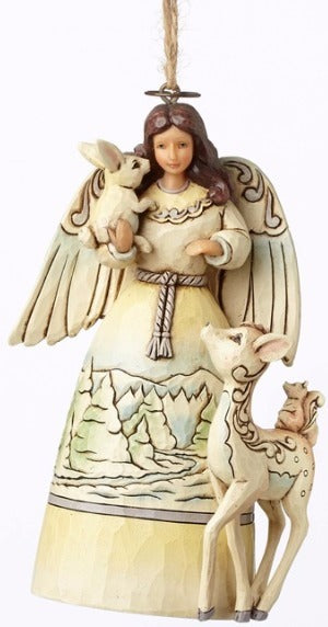 Jim Shore White Woodland Angel Ornament