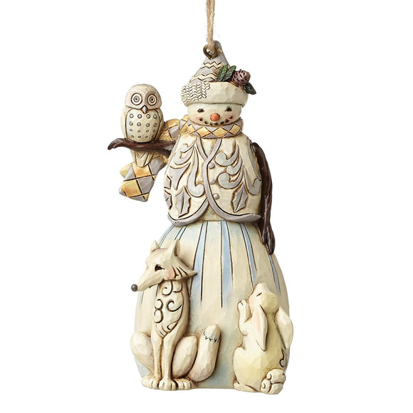 Jim Shore White Woodland Snowman Ornament