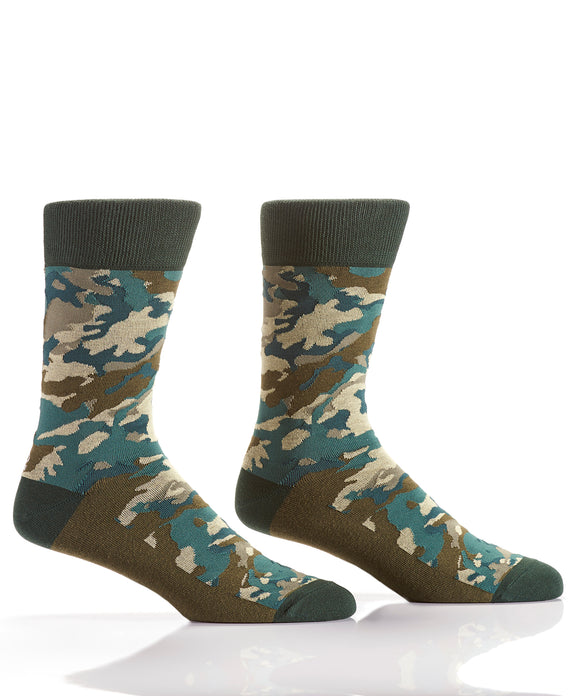 Yo Sox Green Camo Men's Crew Sock
