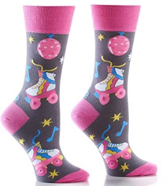 Yo Sox Retro Roller Skates and Disco Ball Women's Crew Sock