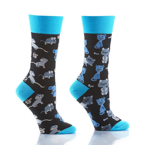 Yo Sox Cat & Mouse Women's Crew Socks