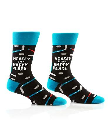 Yo Sox Hockey is my Happy Place Design Men's Crew Sock