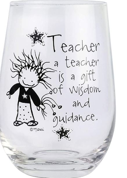 Teacher Wisdom and Guidance Stemless Wine Glass