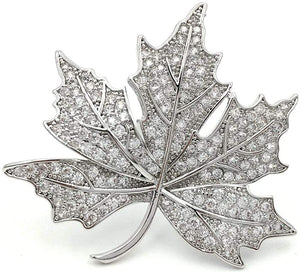 Silver Jeweled Maple Leaf Brooch