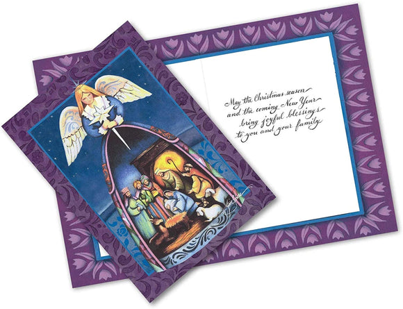 Jim Shore Angel with Nativity Greeting Cards - Set of 10