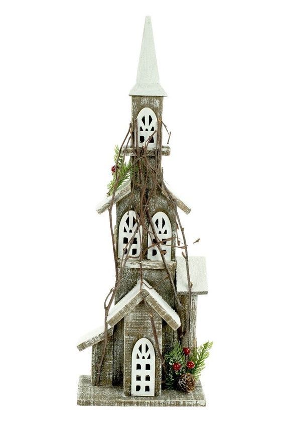 Grey Wood Standing Festive Church With Branches, Pinecones and Red Berries 19.75