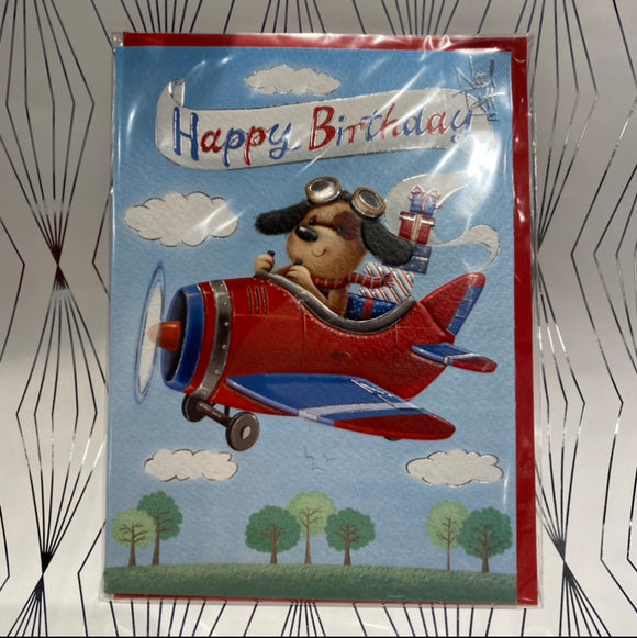 Noel Tatt Happy Birthday Pup in Plane Birthday Card