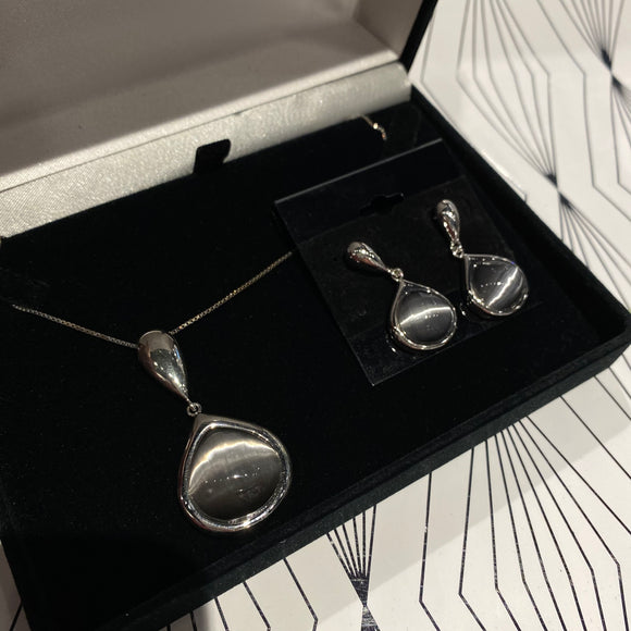 Grey Cats Eye Necklace and Earring Set Sterling Silver