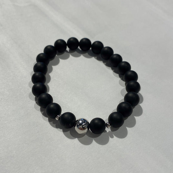 Matte Hematite Bracelet with sterling silver accents