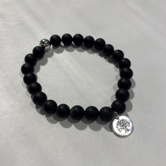 Matte Hematite Bracelet with sterling silver accents and Tree of life charm