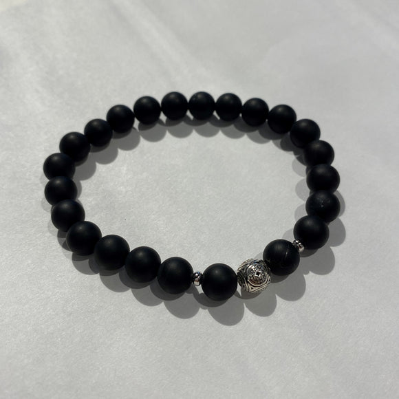 Matte Hematite Bracelet with sterling silver accents - Carvings