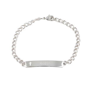 Kids Silver Cross ID Bracelet