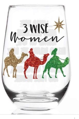 3 wise women stemless glass