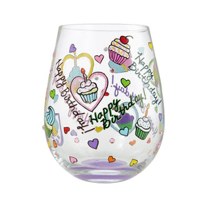 "Stemless ""Birthday Cupcakes"" Wine Glass"