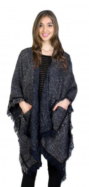 Cherie Bliss Navy Cape - One Size