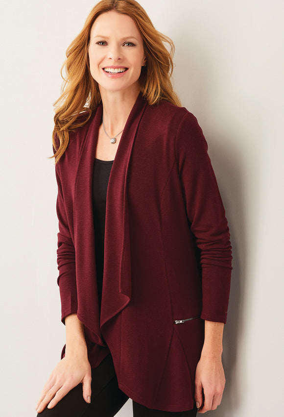 Burgundy Charlie Paige Cardigan With Zippers