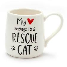 """My Heart Belongs to a Rescue Cat"" Mug"