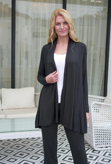 Black Long Bamboo Cardigan