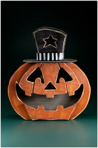 "20"" Orange/Black Wood Grinning Halloween Pumpkin"