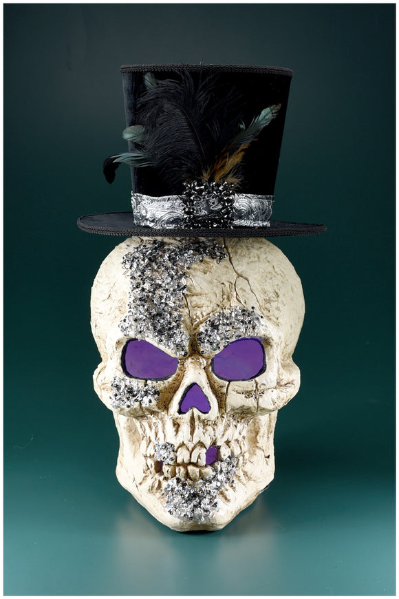 "19"" Bone White Polyresin LED Halloween Skull Head with Top Hat & Color Change"