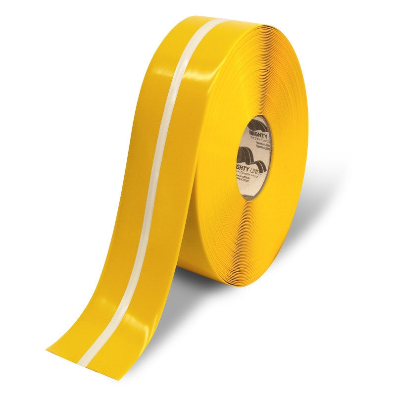 "Mighty Line Floor Tape with Luminescent Center Yellow w/Center Glow 2"" X 100'"