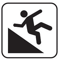 Mighty Line Caution Steep Embakement Ahead Floor Sign