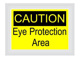 Caution Eye Protection Required Floor Sign