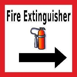 Mighty Line Fire Extinguisher  With Right Arrow Floor Sign