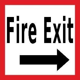 Mighty Line Fire Exit with Arrow Floor Sign