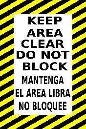 Mighty Line Keep Area Clear Do Not Block Floor Sign (English and Spanish)