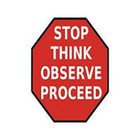 Mighty Line STOP THINK OBSERVE PROCEED Floor Sign