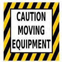 CAUTION MOVING EQUIPMENT Floor Sign