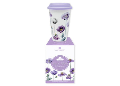 Purple Poppies AWM Double Walled Travel Mug