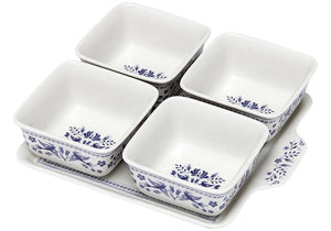 Blue Mazarine 5pce Bowl & Tray Set