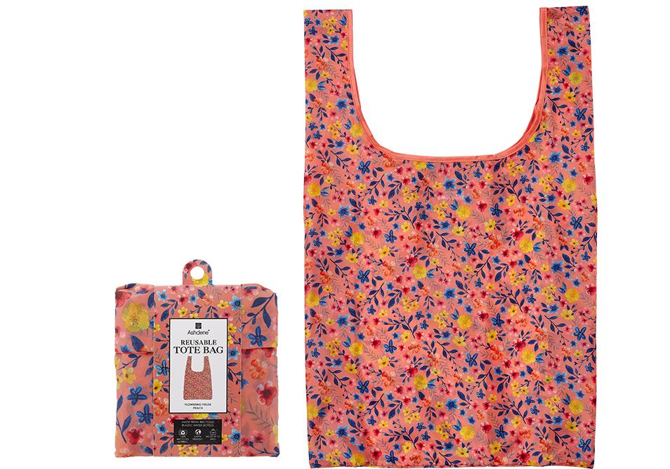 Flowering Fields Peach Shopping Bag