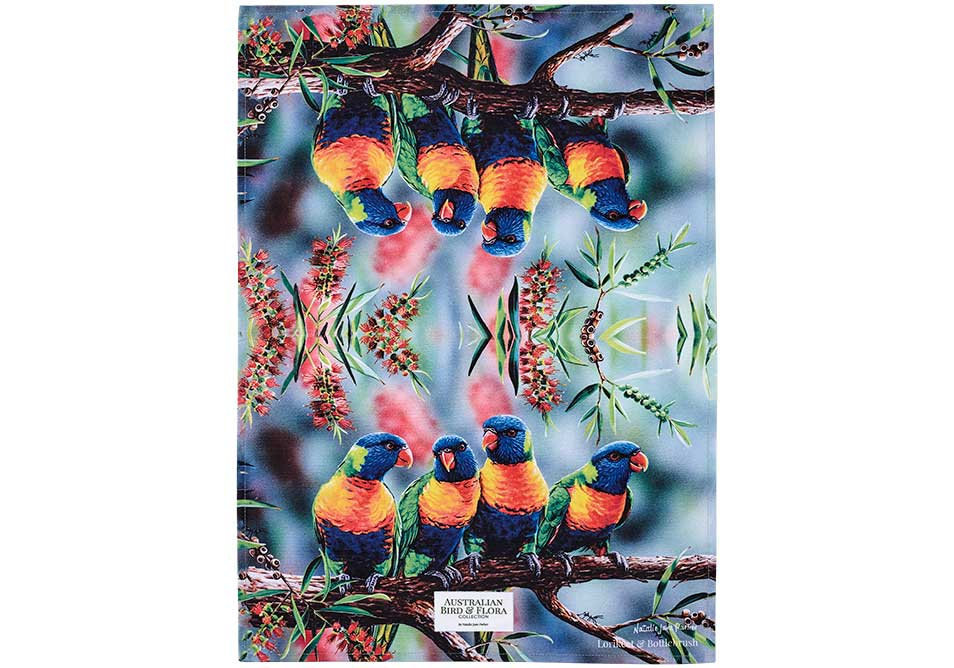 Aus Bird & Flora Lorikeet & B/brush Kitchen Towel