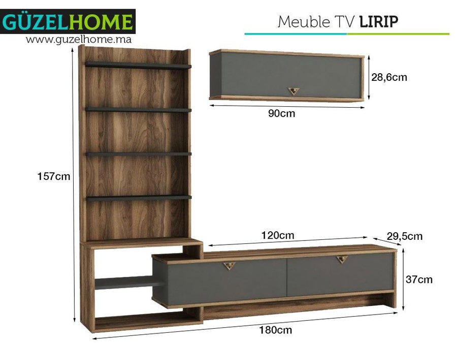 Meuble TV LIRIP - Noyer et Gris Anthracite