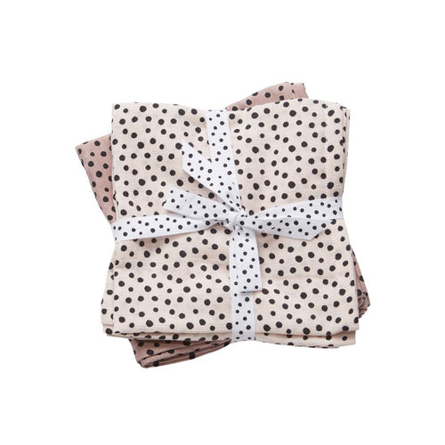 Lot de 2 langes Happy dots rose (70 x 70 cm)