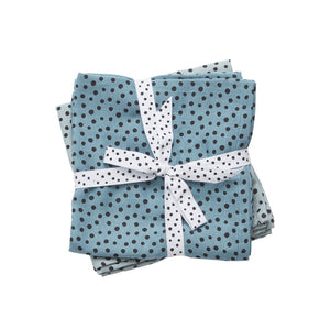 Lot de 2 langes Happy dots bleus (70 x 70 cm)
