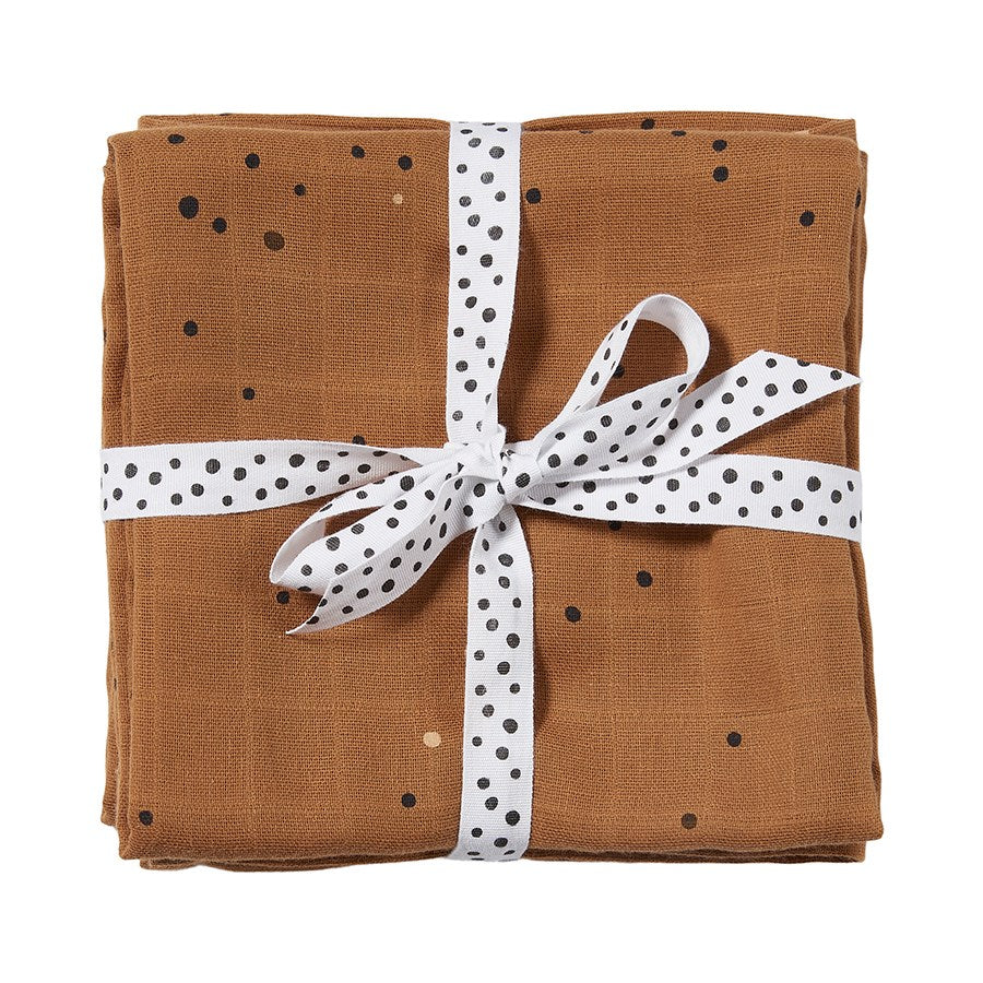 Lot de 2 langes Dreamy dots Moutarde (70 x 70 cm)
