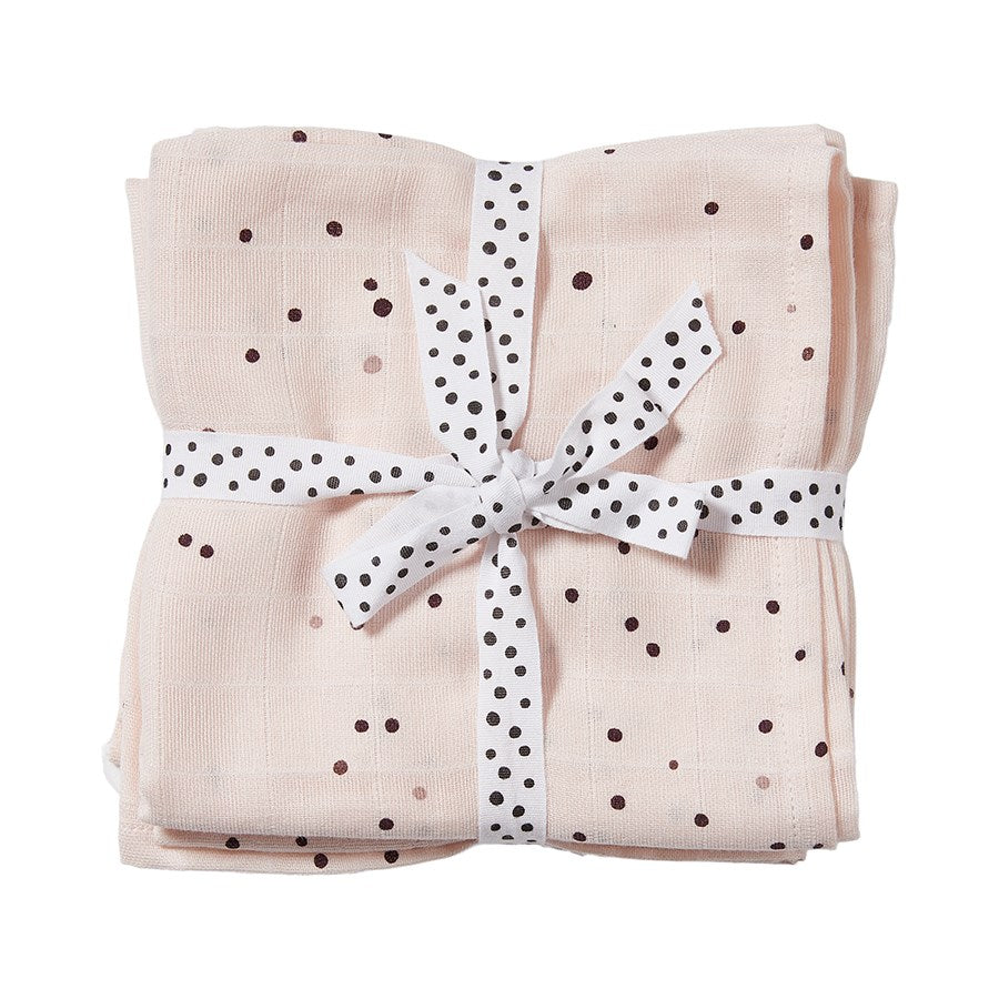 Lot de 2 langes Dreamy dots Rose poudré (70 x 70 cm)