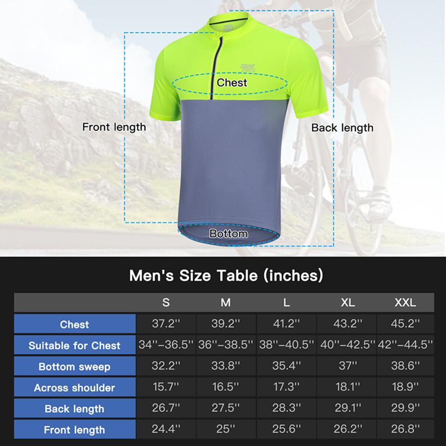 Souke Sports Men's Quick Dry Cycling Jersey Shirts with 3 Rear Pockets-CS2011-Yellow/Grey