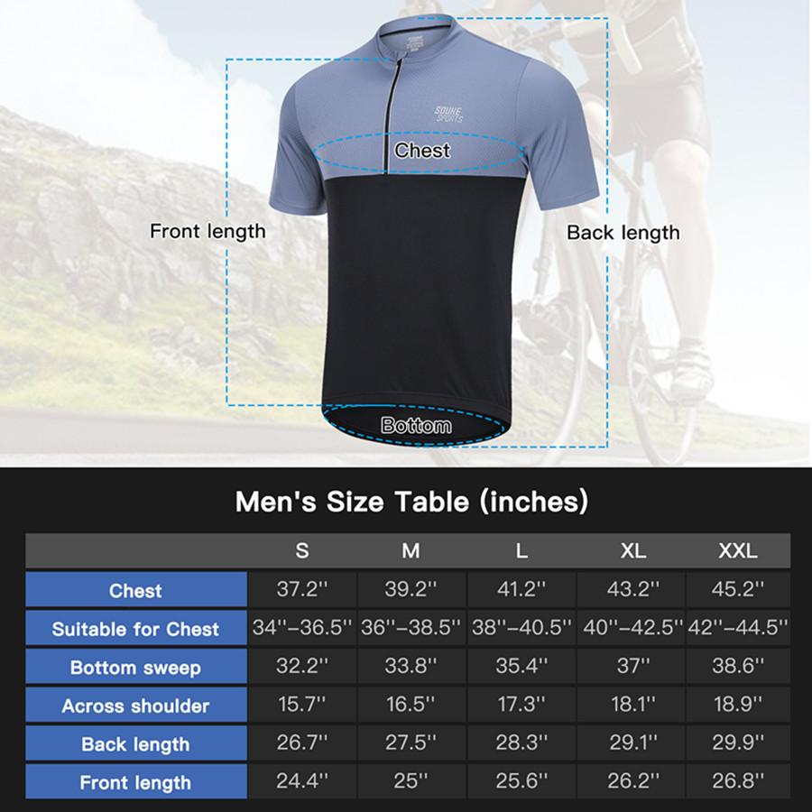 Souke Sports Men's Quick Dry Cycling Jersey Shirts with 3 Rear Pockets-CS2011-Black/Grey
